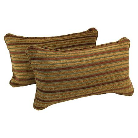 Blazing Needles Corded Autumn Stripes Lumbar Pillow (Set of 2) Autumn Blaze Pear