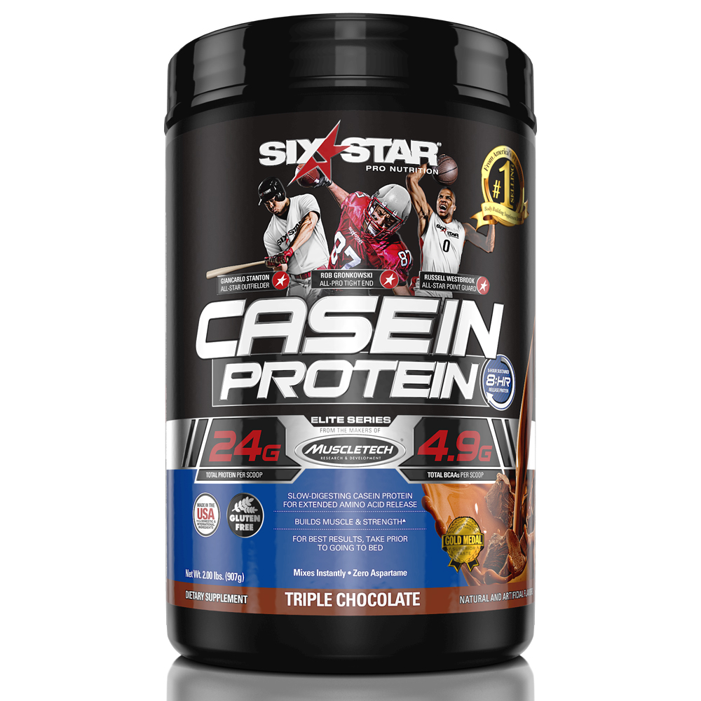 Six Star Pro Nutrition Elite Series Casein Protein Powder, Triple Chocolate, 24g Protein, 2 Lb