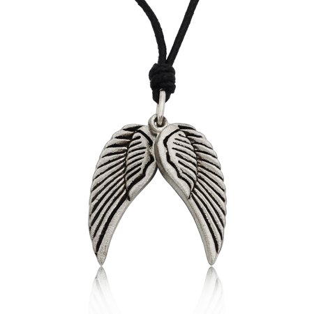 Pair Angel Wings Pewter Silver Charm Necklace Pendant Jewelry With Cotton Cord