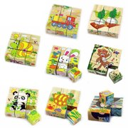 Girl12Queen Wooden 3D Animals Puzzle Blocks Cube Jigsaw Baby Kids Education Learning Toy