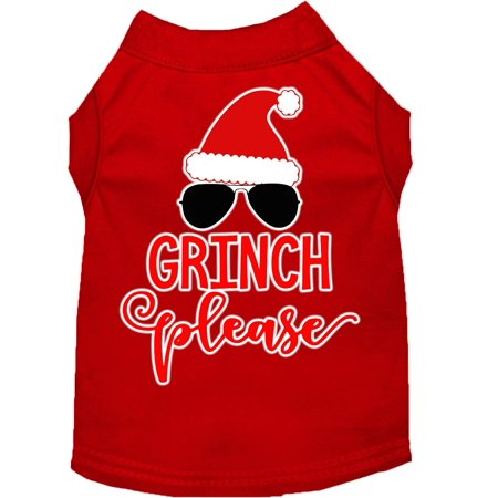 Grinch Please Screen Print Dog Shirt Red XL (16) - Pleaser Scream