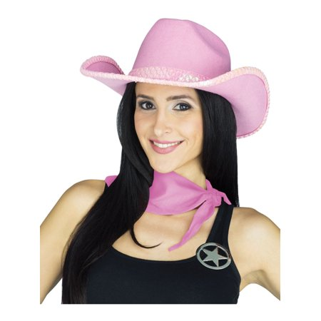Adult's Womens Pink Sequin Western Cowgirl Outlaw Costume Accessory Kit