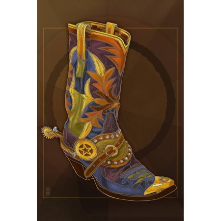 Cowboy Boot Western Theme Art Print Wall Art By Lantern Press