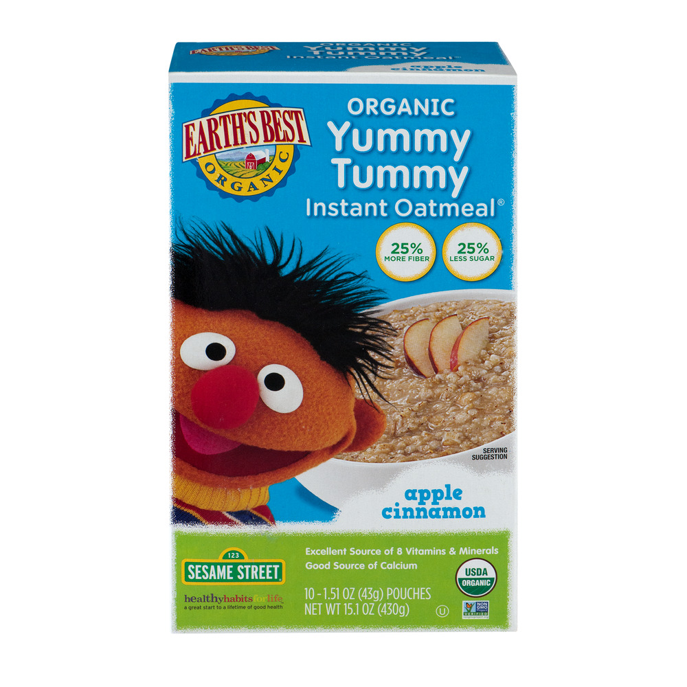 Earth's Best Organic Yummy Tummy Instant Oatmeal Apple Cinnamon - 10 CT