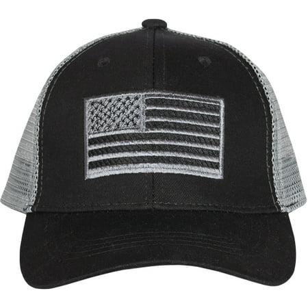 Embroidered Ball Cap American Flag Trucker Black
