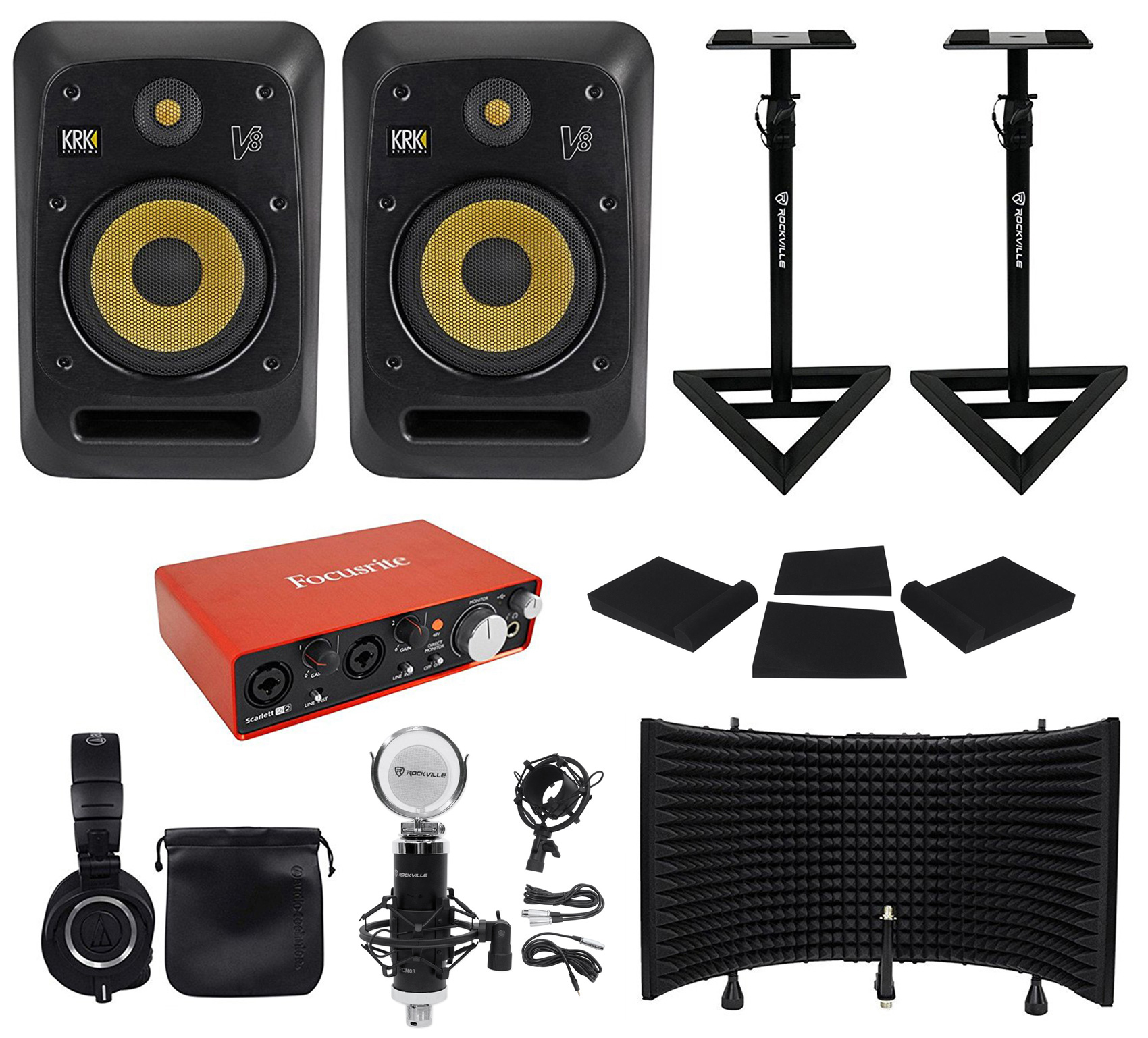 "(2) KRK V8S4-NA 8"" Active Studio Monitors+Stands+Interface+Mic+Headphones+Shiled by KRK"
