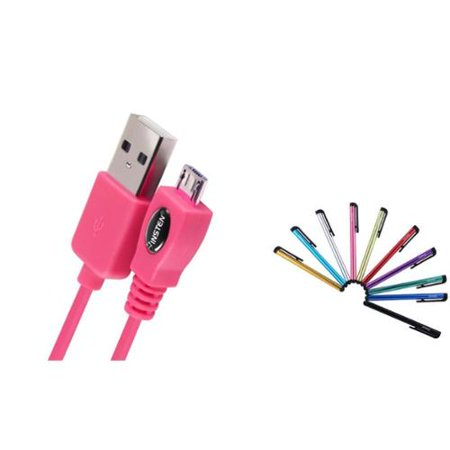Insten 3Ft Hot Pink Usb Data Charger Cable Cord For Google Nexus 7 Blackberry Playbook  With 10 Piece Stylus