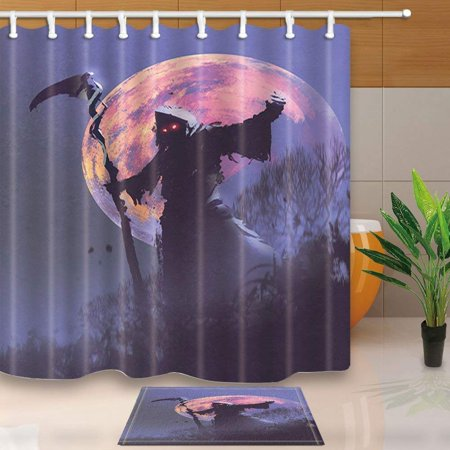 ARTJIA Halloween Painting Decor Death with Scythe Standing with Full Moon Shower Curtain 66x72 inches with Floor Doormat Bath Rugs 15.7x23.6 - 100 Floors Level 12 Halloween