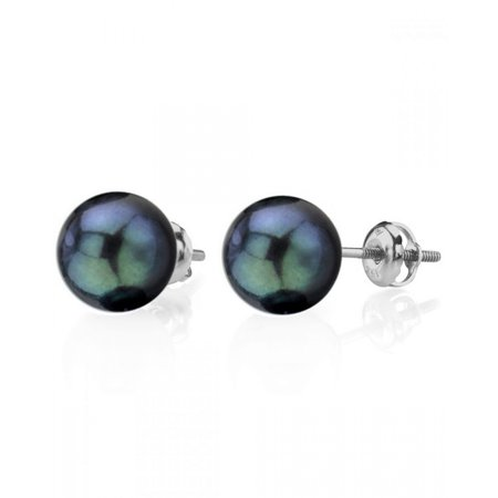14K Gold Screw Back 7.5-8.0mm Black Akoya Cultured Pearl Stud Earrings - AAA Quality