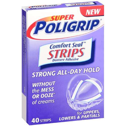 Super Poligrip Comfort Seal Denture Adhesive Strips, 40 ct