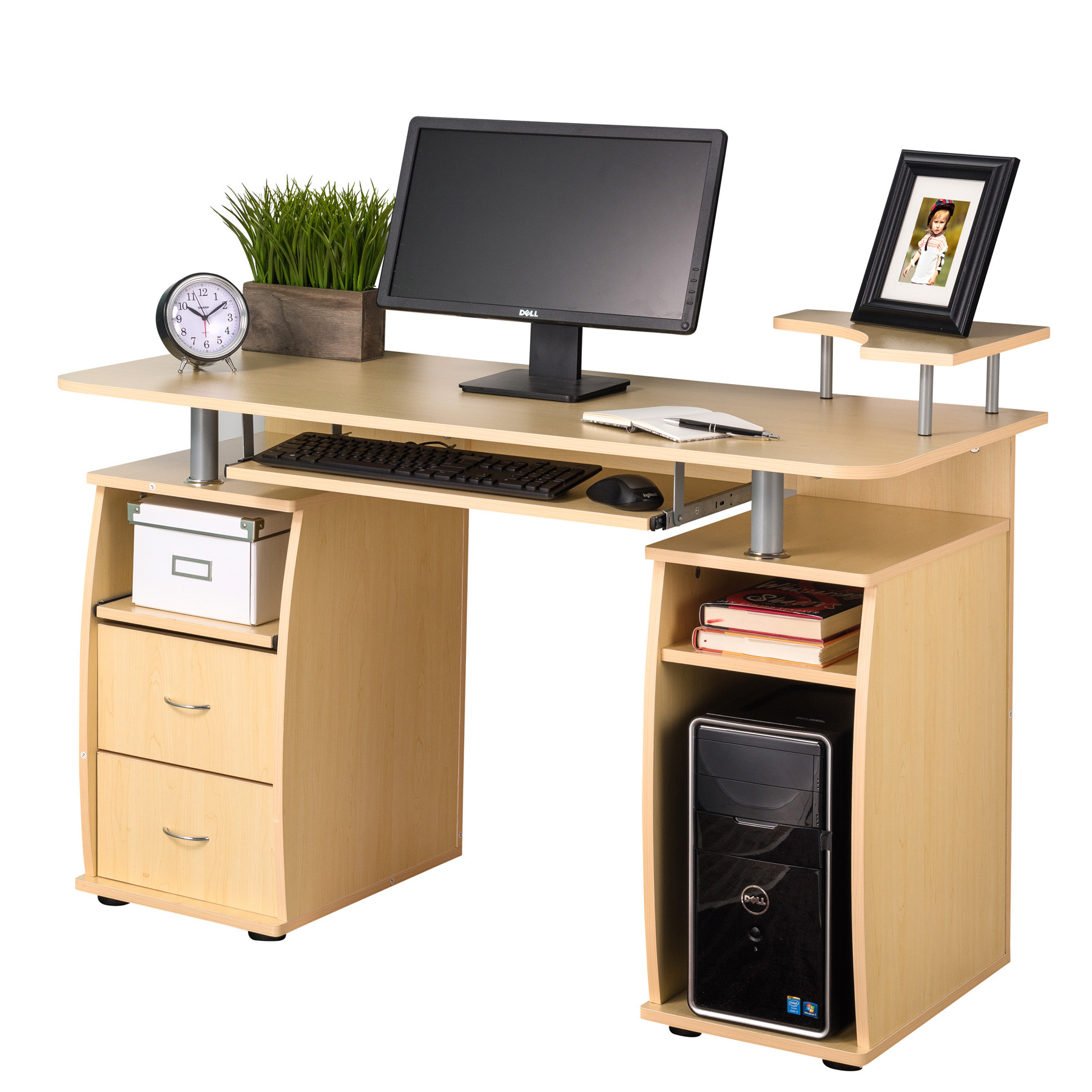 Perfect Fineboard Home Office Computer Desk, Yellow Teak   Walmart.com