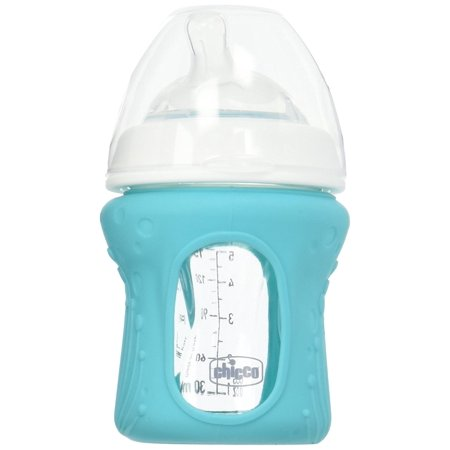 Free Bonus Bottle - NaturalFit Glass Baby Bottle 2 Pack, 0m+ Slow Flow, with Bonus Silicone Sleeve, BPA Free | Made in Italy By Chicco Ship from US