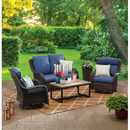 Better Homes & Gardens Ravenbrooke 4-Piece Patio Conversation Set with Blue Cushions Garden Oasis Patio Furniture