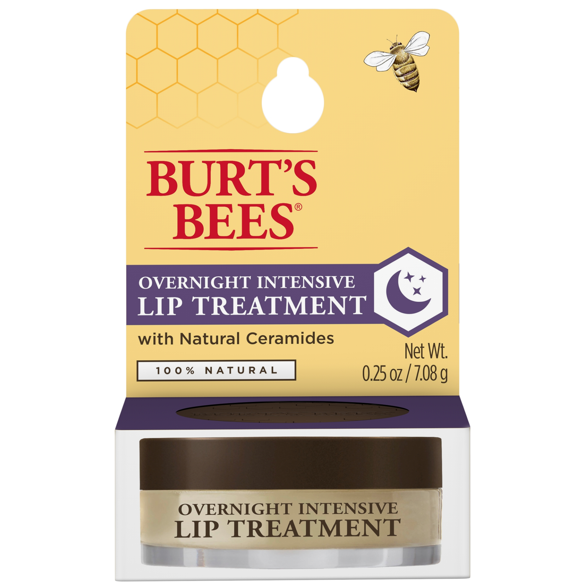 Burt's Bees 100% Natural Overnight Intensive Lip Treatment, Ultra-Conditioning Lip Care - 0.25 oz