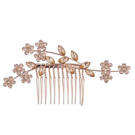 Lux Accessories Rose Gold Rhinestone Bridal Floral Flower Vine Metal Hair Comb