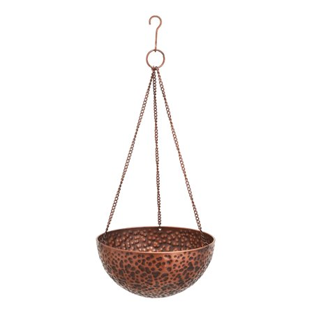 Mainstays Augustine Hammered Copper Metal Hanging Planters, Set of - Indoor Hanging Planters