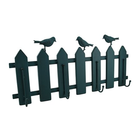 Birds On A Fence Green Verdigris Vintage Finish Metal Hanging Wall Hook](Metal Bird Wall Decor)