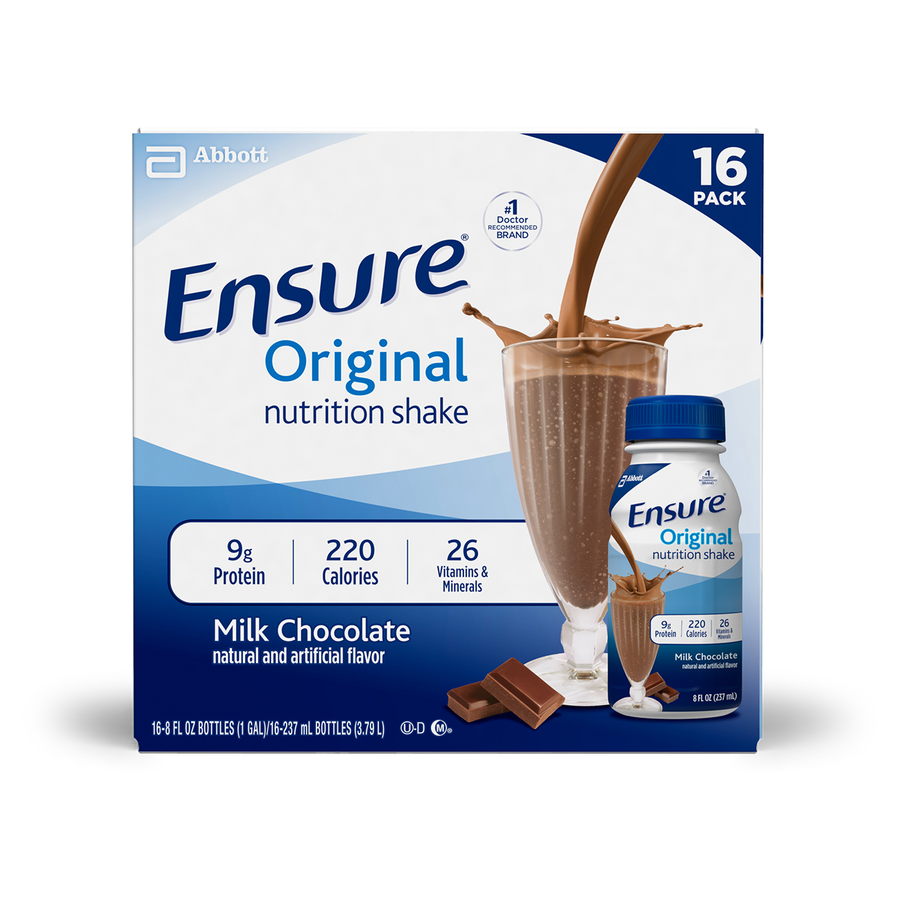 Ensure Original Nutrition Shake with 9 grams of protein, Meal Replacement Shakes, Milk Chocolate, 8 fl oz, 16 Count
