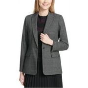 Calvin Klein Womens Plaid One Button Blazer Jacket, Grey, 2