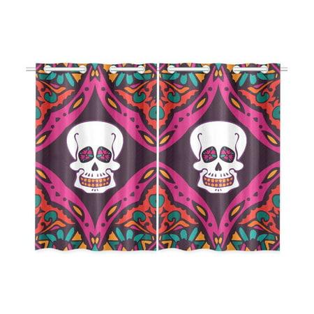 Mexican Kitchen - MKHERT Mexican Skull Blackout Window Curtain Kitchen Curtain 26x39 inch, 2 Panels