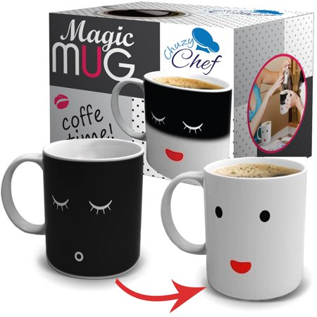 Heat Color Changing Mug Gift 12 Oz Heat Sensitive Color and Smiley Face Morning Changing Drinkware Ceramic Coffee Tea Cup Black to White - Gift for Mom Friends Women & Men - Chuzy Chef - 12 Oz To Cup