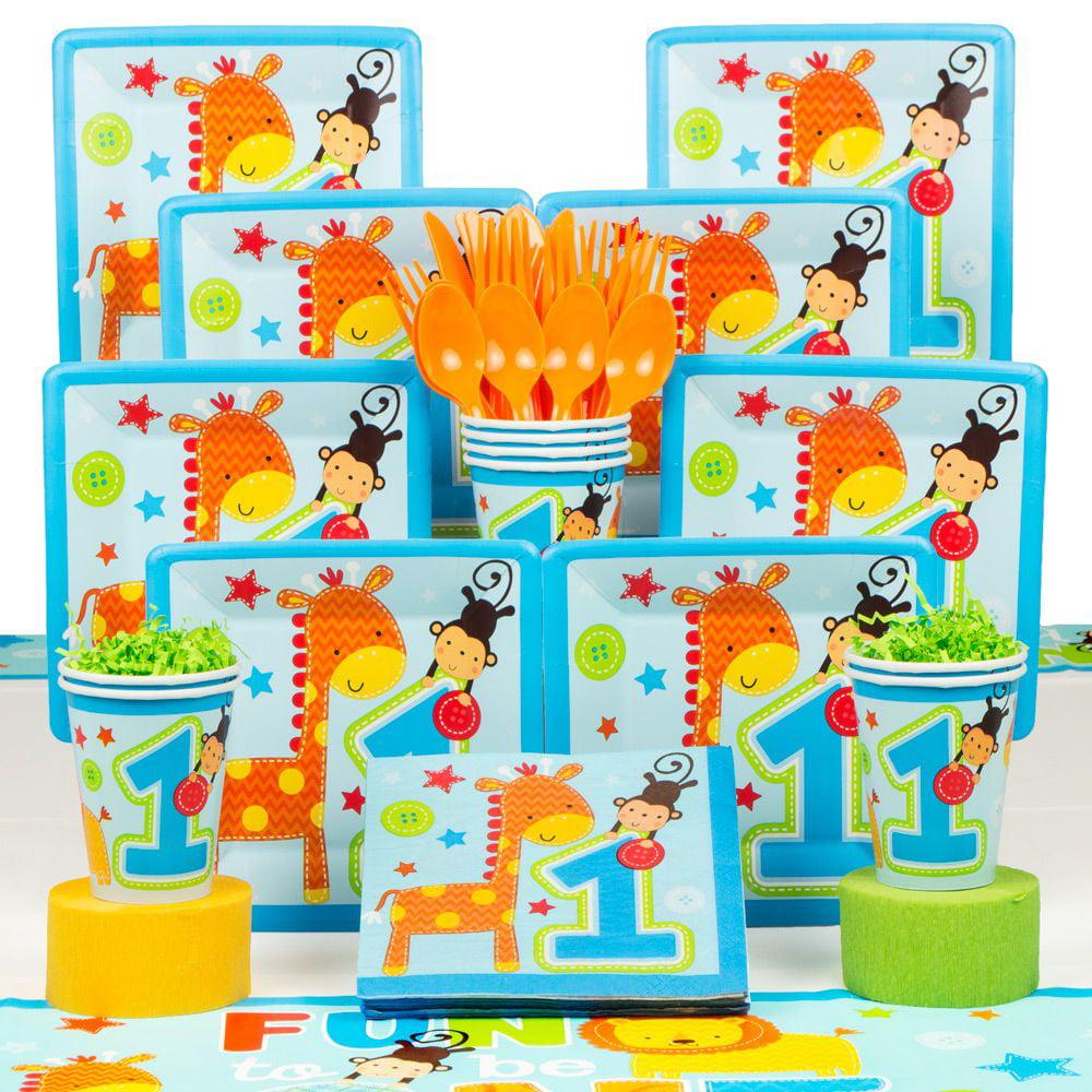 One Wild Boy 1st Birthday Deluxe Kit (Serves 8) - Party Supplies