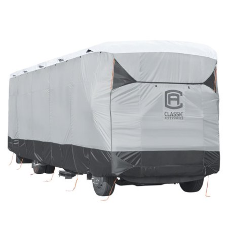 Classic Accessories OverDrive SkyShield™ Deluxe Tyvek® RV Class A Travel Trailer Cover, Fits 40' - 42' RVs - Water Repellent Tyvek® RV Cover, Black/Grey/Snow White