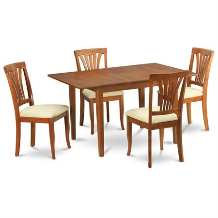 Psav5 sbr c 5 piece small dinette set table with leaf for 10 piece kitchen table set