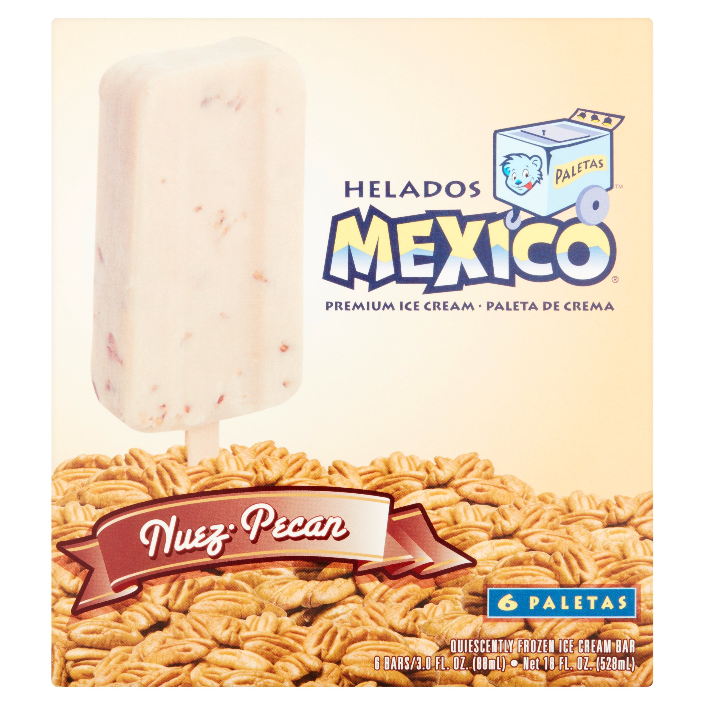 Helados Mexico Pecan Premium Ice Cream, 3.0 fl oz, 6 count