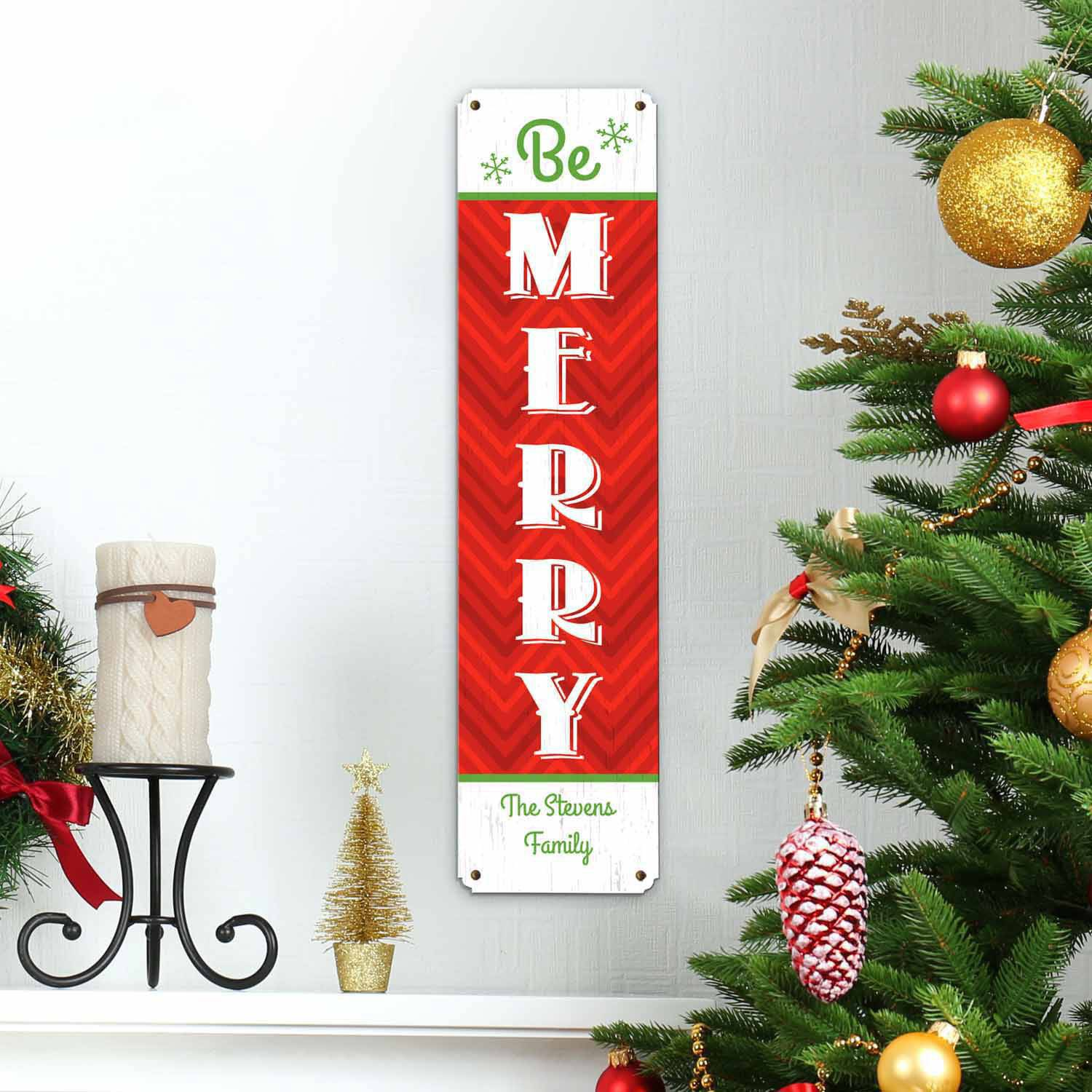 Personalized Be Merry Metal Sign