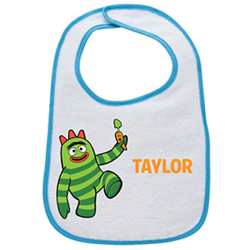 Personalized Yo Gabba Gabba! Brobee Eats His Veggies Light Blue Bib