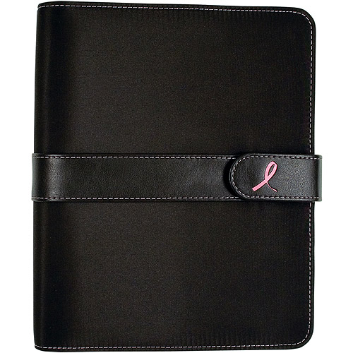 Day-Timer Pink Ribbon Microfibre Desk Planner, Black