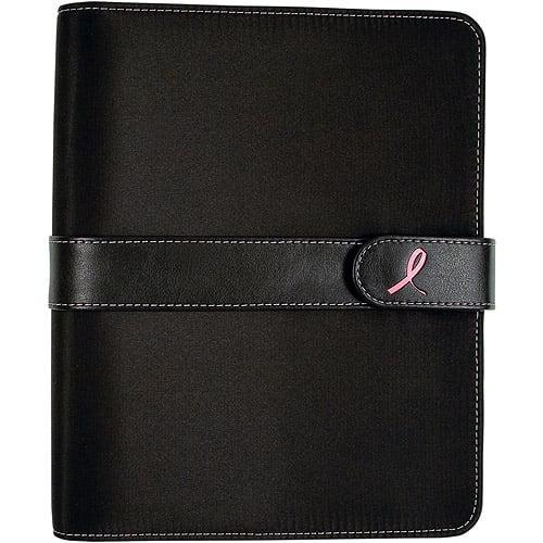 Day-Timer Pink Ribbon Microfibre Desk Planner, Black