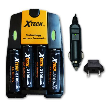 Xtech 4 AA Nimh High -Capacity Rechargeable Batteries 3100mAh plus Quick AC/DC Charger with Car Charger Adapter for Remote control, TV Remote Controllers, Game Controllers, Joysticks, Remote Control T