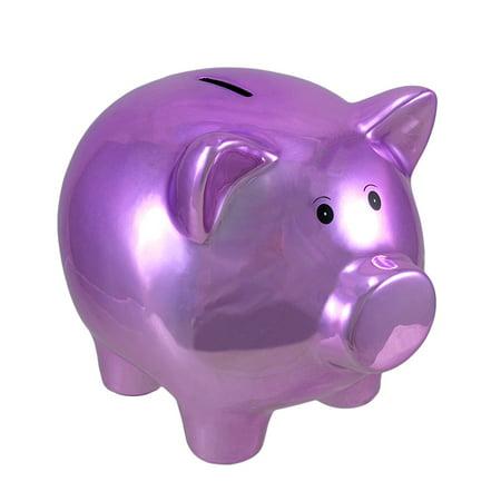 Metallic Purple Plated Ceramic Piggy Bank 8 In