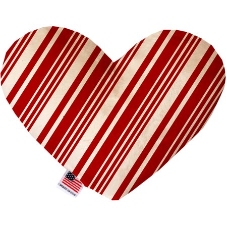 Classic Candy Cane Stripes 6 Inch Heart Dog Toy - Candy Cane Heart