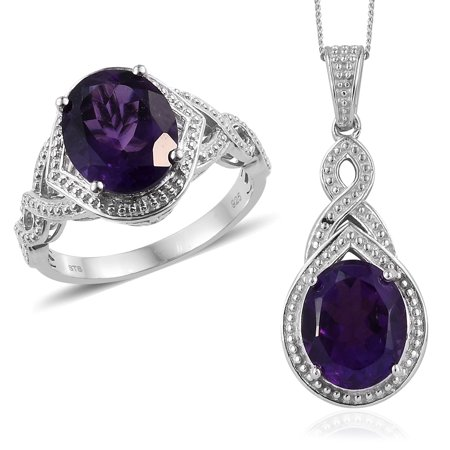 Birthstone Ring Pendants (Ring Chain Pendant Necklace 925 Sterling Silver Oval Amethyst Gift Jewelry for Women Size 7 & 20