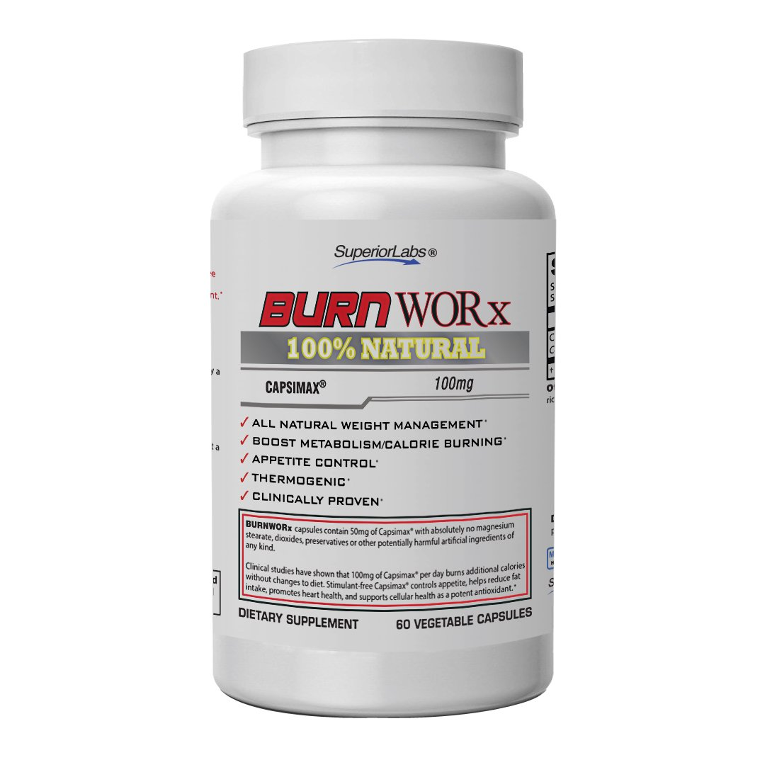 Superior Labs – Burn Worx - All-Natural Weight Management Supplement Helps Boost Metabolism, Supports Calorie Burning While Enhancing Energy Levels - Metabolic Enhancer with Capsimax