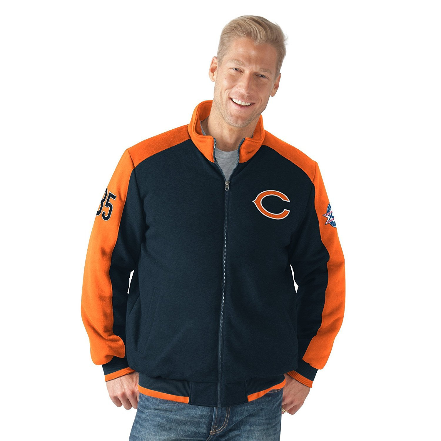 "Chicago Bears ""Classic"" Super Bowl Commemorative Cotton Fleece Varsity Jacket by G-III Sports"