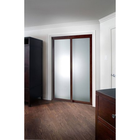 Pinecroft Fusion Frosted Glass Chocolate Frame Sliding Door ()