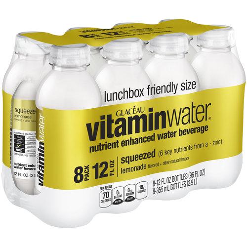 Glaceau vitaminwater Squeezed Lemonade Nutrient Enhanced Water Beverage, 12 fl oz, 8 pack