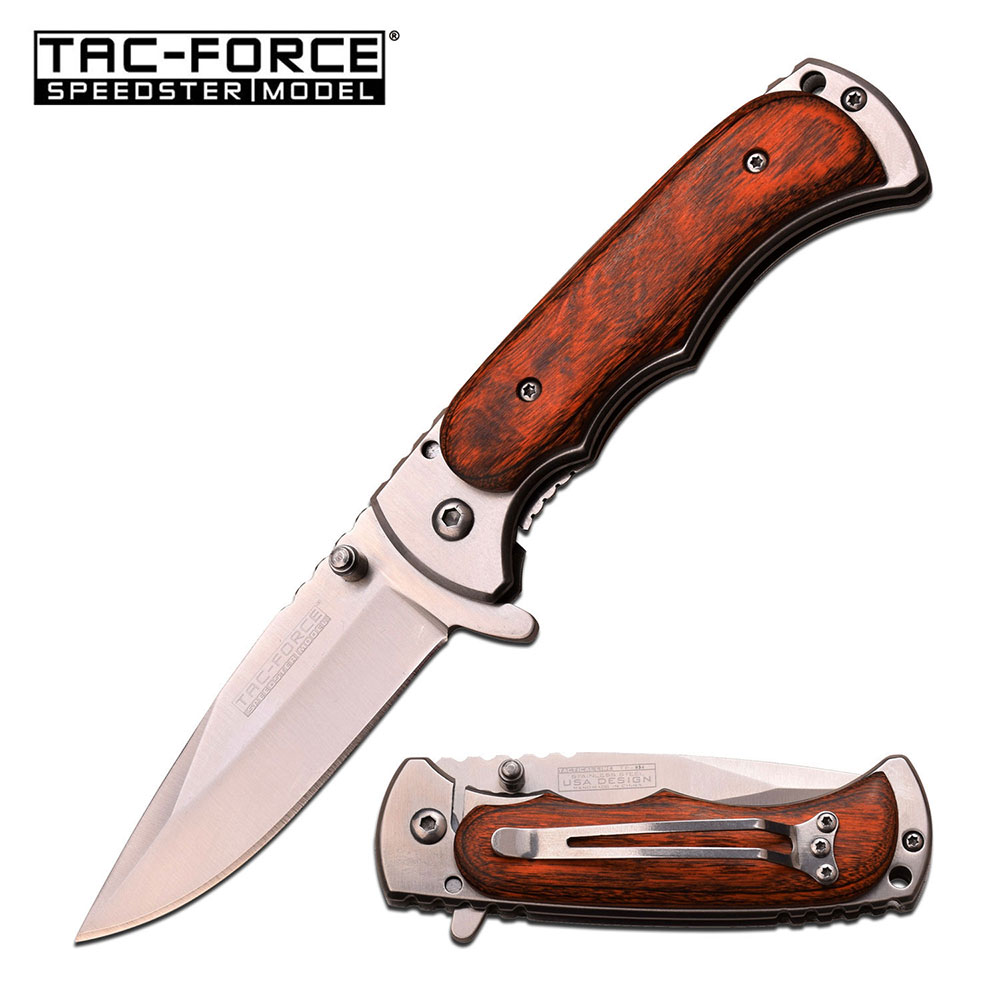 SPRING ASSISTED FOLDING POCKET KNIFE Tac-Force Silver Blade Wood Hunter Tactical