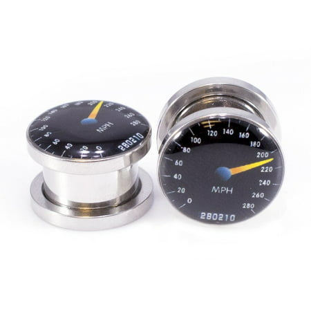 Pair of Ear Plugs Gauges with Speedometer Logo Screw Fit Plugs - 2G - - 2g Ear Plugs Body Jewelry