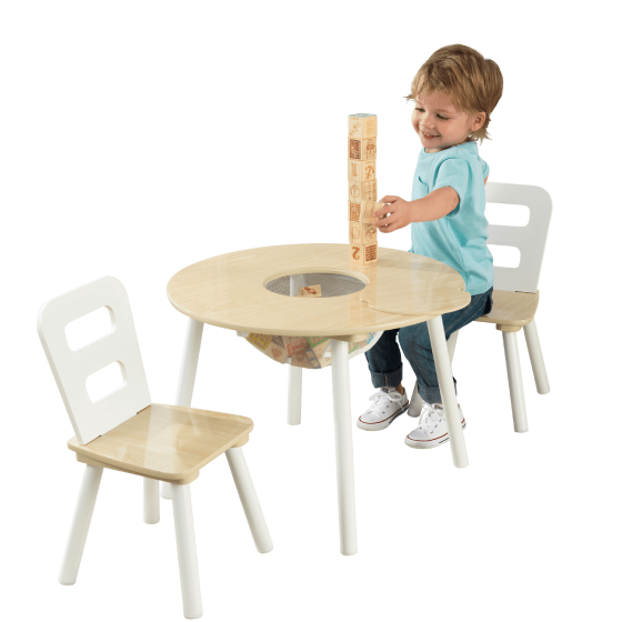Kidkraft round storage table 2 chair set natural for Kid craft table and chairs