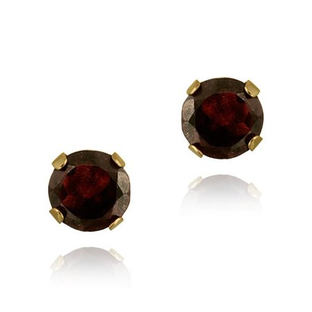 14k Yellow Gold 11/10ct TGW 5mm Garnet Stud Earrings