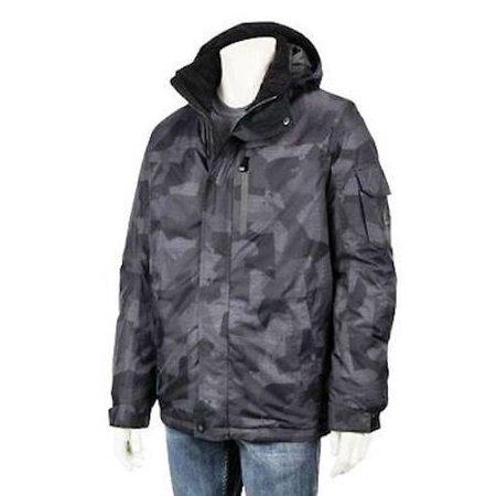 Ski Snowboarding Jacket - R-WAY Men's Snowboard Ski Jacket Coat w/ Beanie ZEROXPOSUR - Grey Tackle - Small