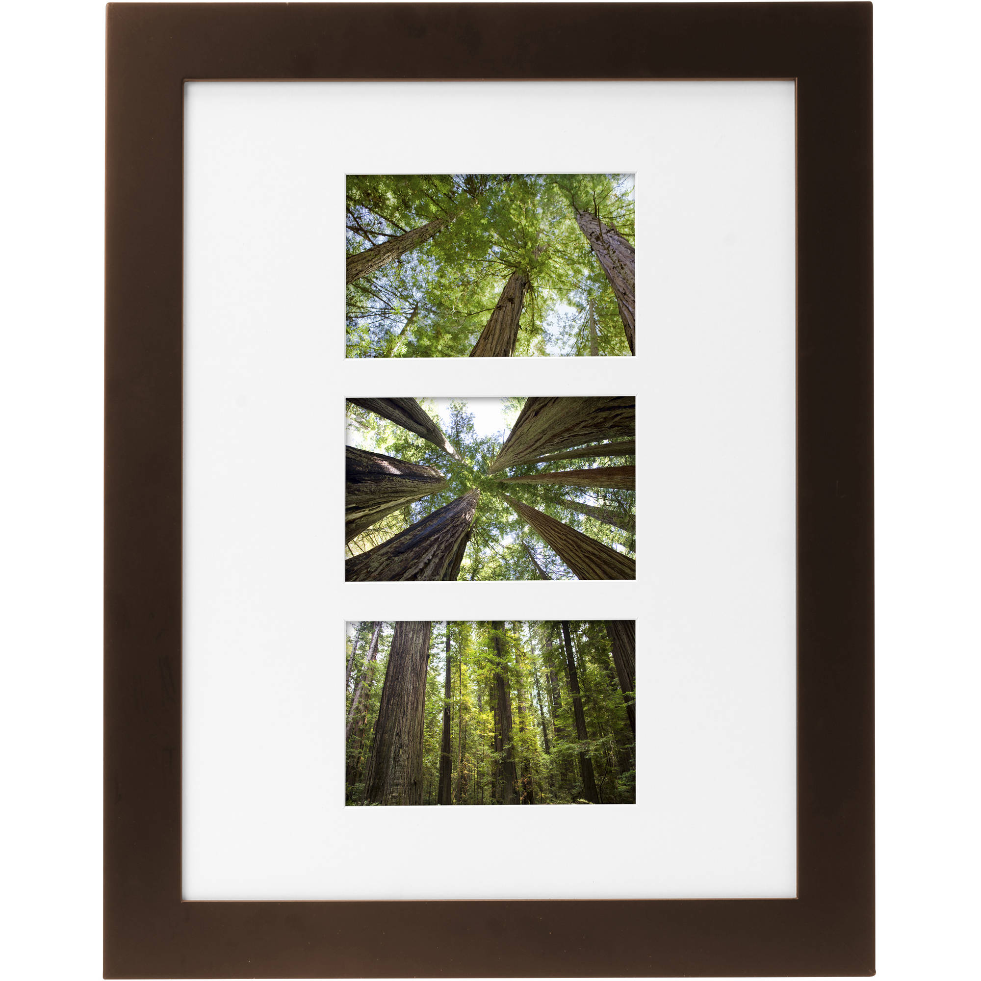 "Mainstays Museum 12"" x 16"" Matted to Three 4"" x 6"" Openings Solid Wood Picture Frame, Mahogany"