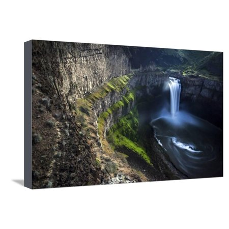 Moonlight Illuminates the Cliffs of Palouse Falls on a Clear Spring Night in Eastern Washington Stretched Canvas Print Wall Art By Ben Herndon