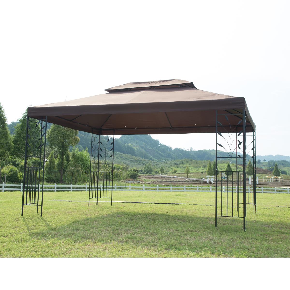 10'x10' Outdoor Metal Gazebo Mosquito Netting Screen Walls Steel Frame Vented Garden Gazebo