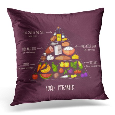 ECCOT World Diet Pyramid Healthy Nutritious Food Health Medical Concept Day Chart Pillowcase Pillow Cover Cushion Case 18x18 inch